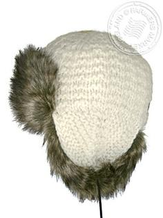 Thufa - Icelandic wool - cotton lining, faux fur hand knitted 3