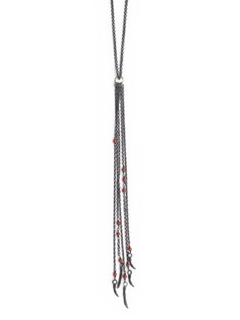 Oxidized silver & coral tassel-chain necklace