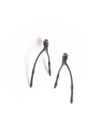 Oxidized silver double branch stud.